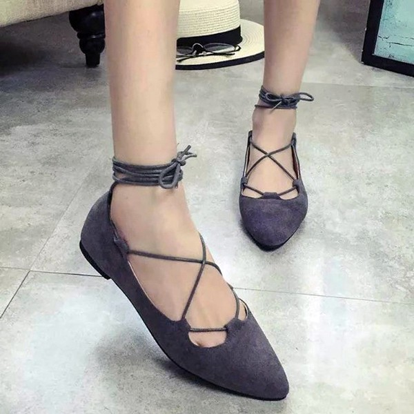 Women Summer Flats Fashion Pointed Toe Lace Up Strap Base Sandals Hollow Out Shoes