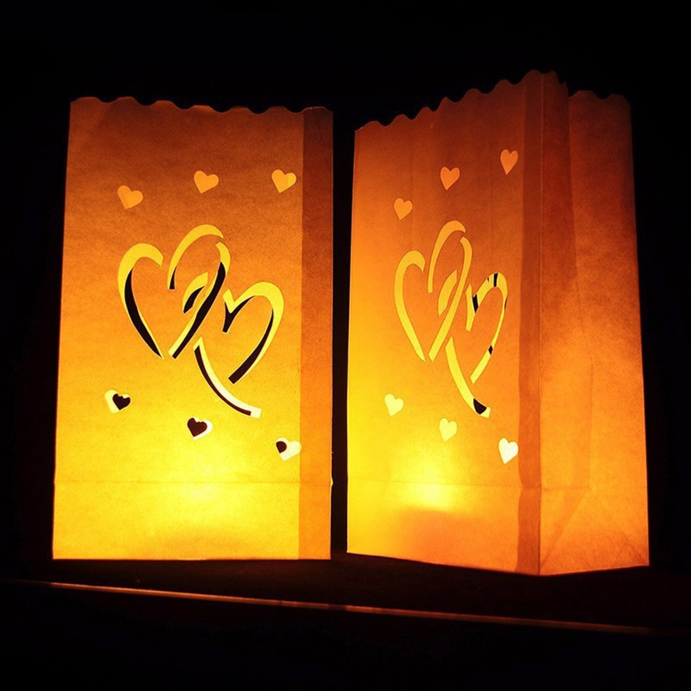 10PCS Double Heart Pattern Tea Light Holder Candle Paper Bag for Christmas Party Wedding Decoration