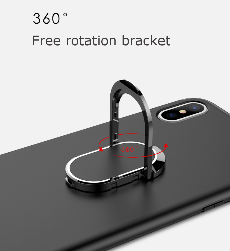 Bakeey™ 360° Adjustable Metal Ring Kickstand Magnetic Adsorption TPU Case for iPhone X