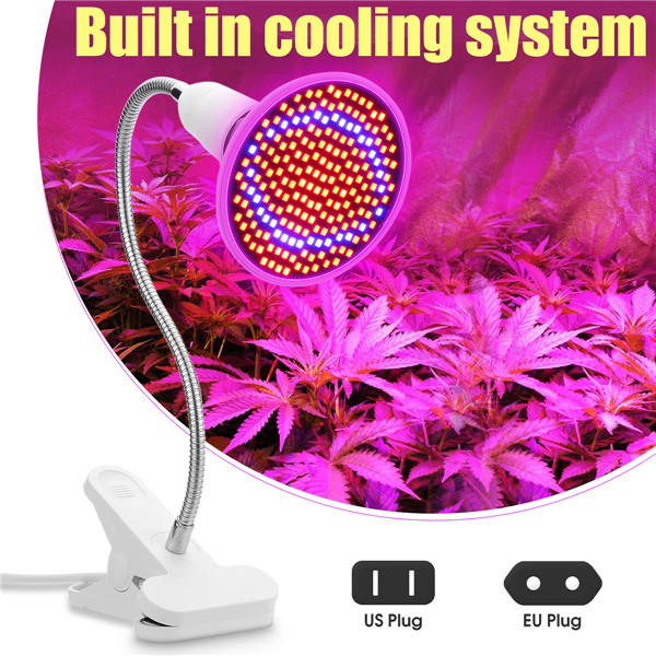 E27 20W 200 LED Plant Grow Light Lamp Bulbs Clip for Flower Growing Green House