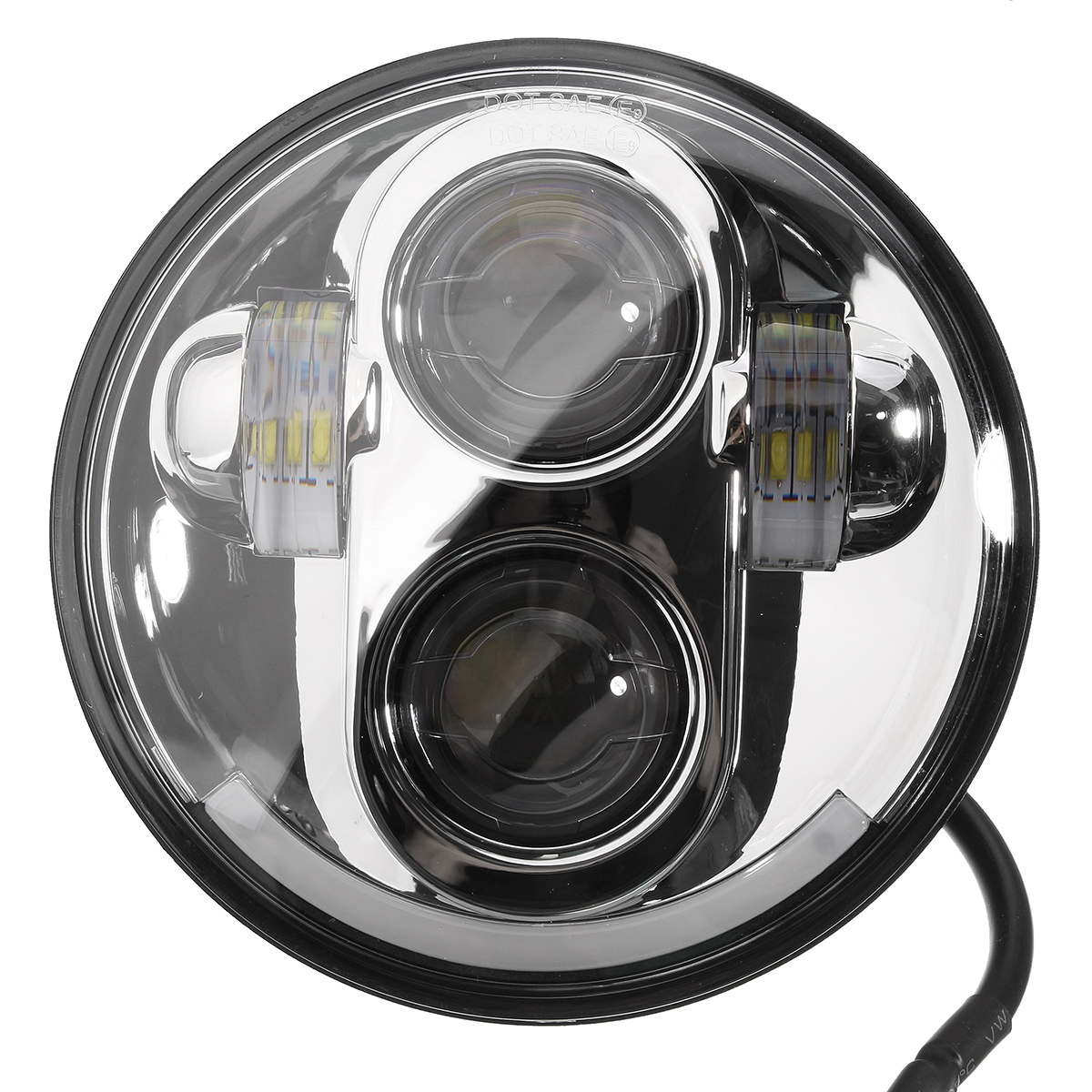 5.7inch Motorcycle Projector DRL LED Light Bulb HI/LO Beam Headlight For Harley