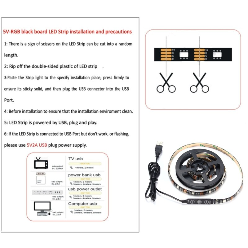 90CM USB RGB SMD5050 27 LED Flexible Rope Tape Strip Light TV PC Background Lighting Lamp DC5V