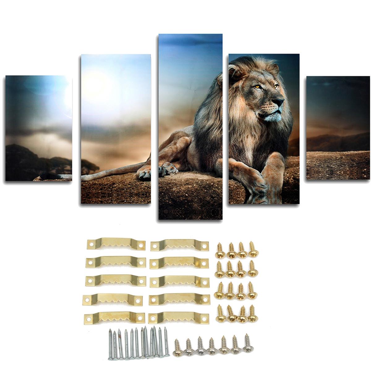 5PCS Frameless Canvas Print Sitting Lion Wall Art Painting Picture Home Decoration Paper Art