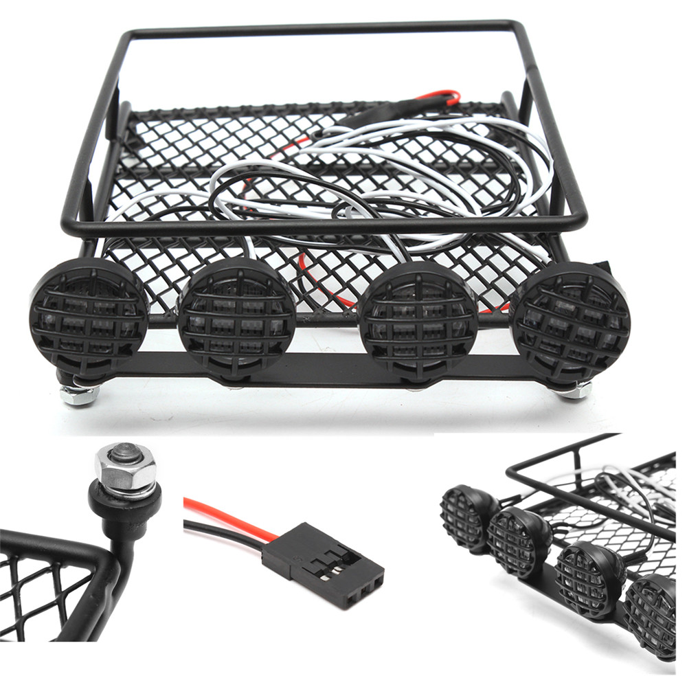 1/10 Roof Luggage Rack Carrier LED Light Bar 513B for Wrangler Tamiya SCX10 CC01 Rc Car Parts