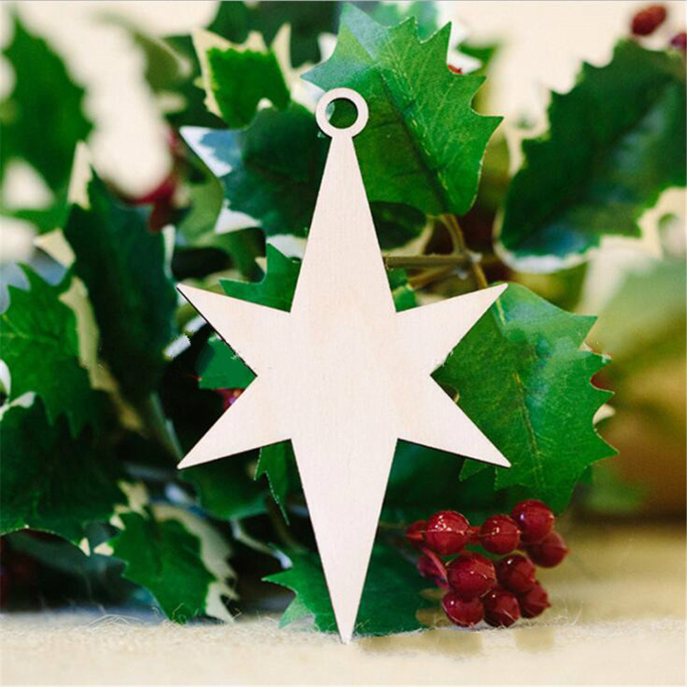 10Pcs Wooden Blank Christmas Star Wood Chip Sheet Ornaments Hanging Tags Laser Engraving DIY Crafts