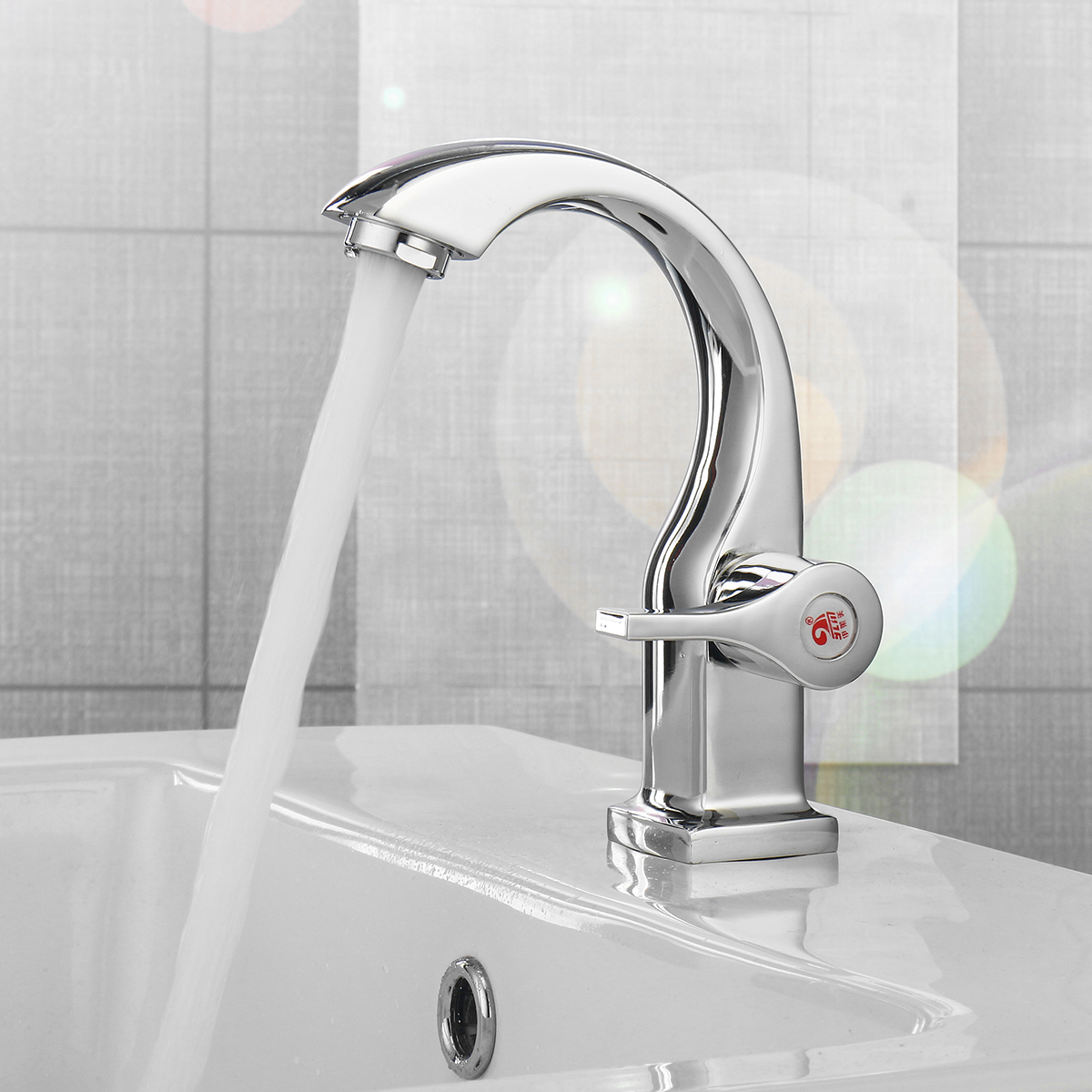 Modern Swan Neck Faucet Bathroom Sink Basin Deck Mount Sink Tap Cold Water