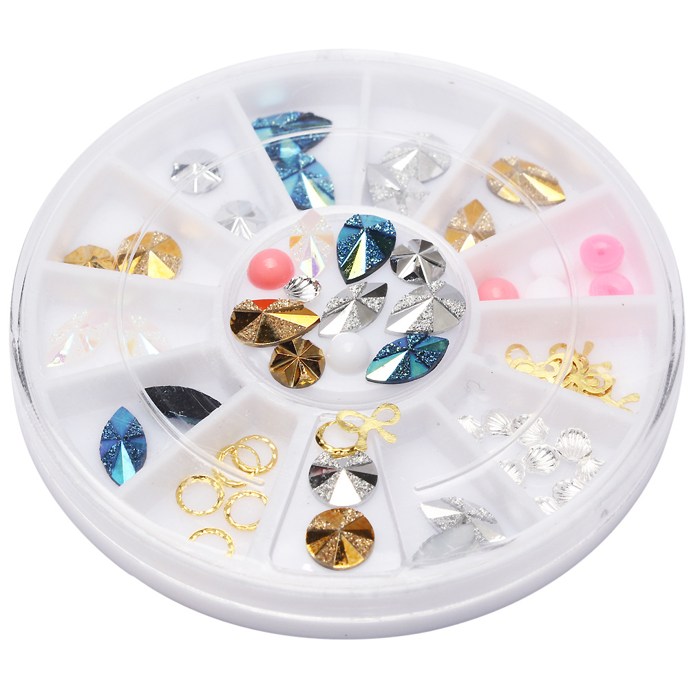 3D Nail Art Decoration Rhinestones Wheel Acrylic Manicure Gem DIY Studs Golden Pink Bowknot