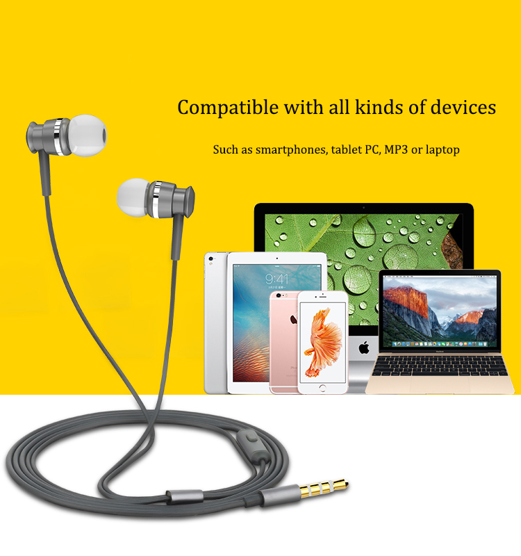 Joyroom EL122 Aluminum Alloy Dynamic In-ear Earphone Headphone with Mic for Xiaomi iPhone Huawei