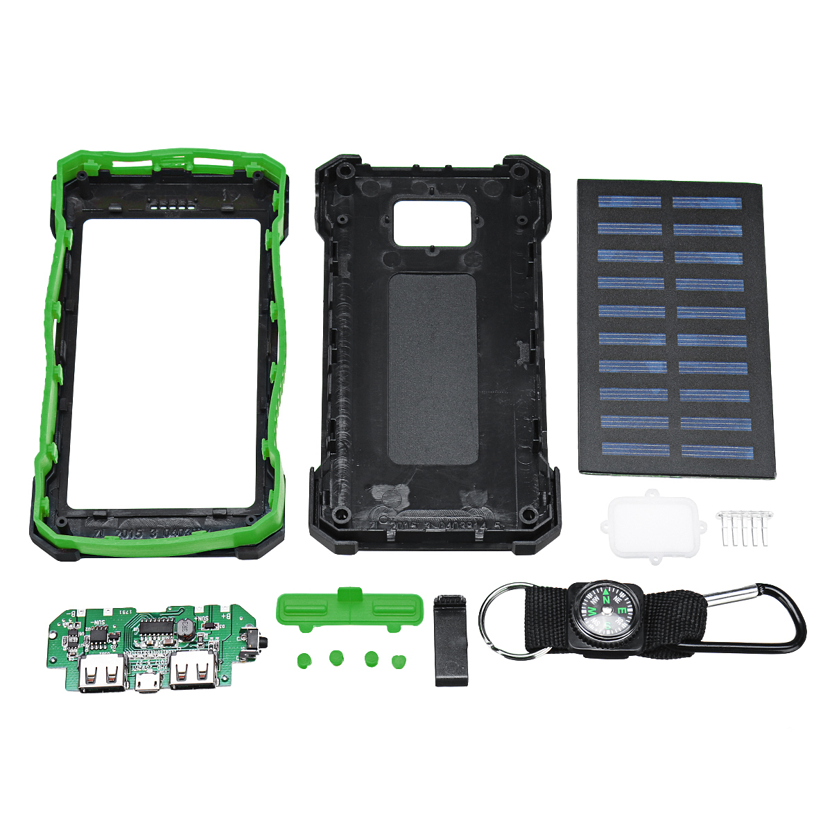 2 USB Waterproof DIY Solar Power Bank Shell Case with LED Lamp Compass Climbing Buckle