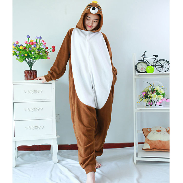 Unisex Mole Warm Pajama Cartoon Loose Sleepwear