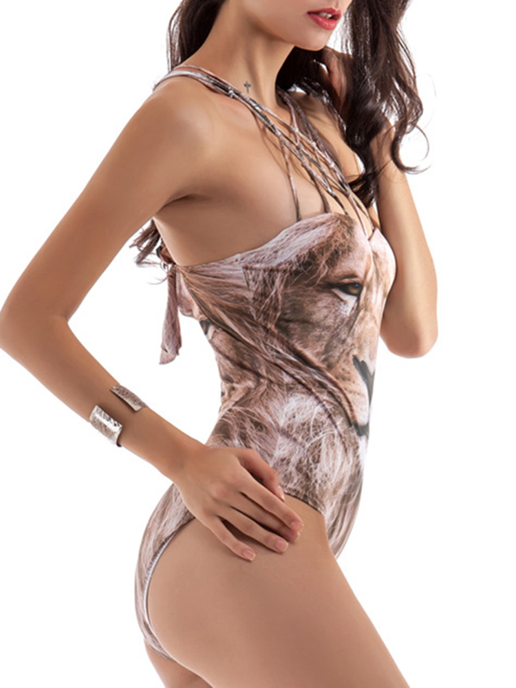Women Sexy Animal Printing Wireless Swimsuit Criss-Cross Quick Drying One Piece