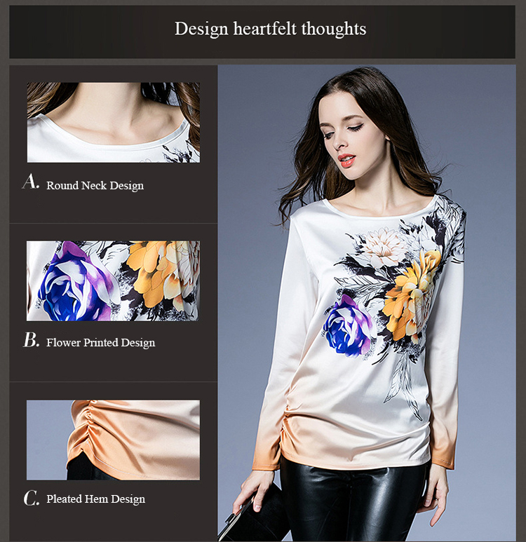 Casual Women Flower Printed Gradient Pleated Side Work T-shirt