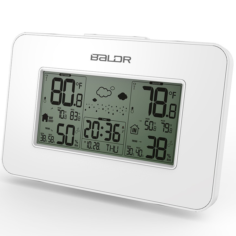 BALDR LCD Digital Wireless Weather Station Hygrometer Thermometer Indoor Outdoor Temperature Humidity Sensor Snooze Alarm Clock