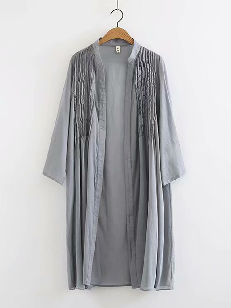 Vintage Solid Stand Collar Pleated Cardigan Long Shirt