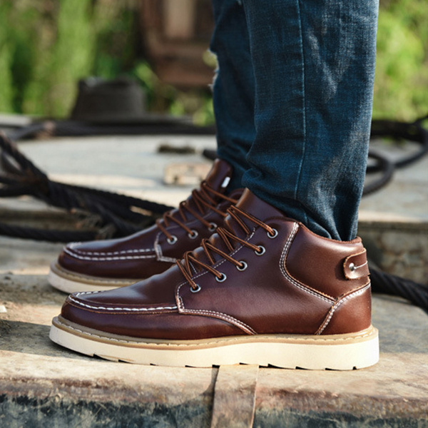 Men Comfy Leather Lace Up Ankle Boots Winter Warm Shoes