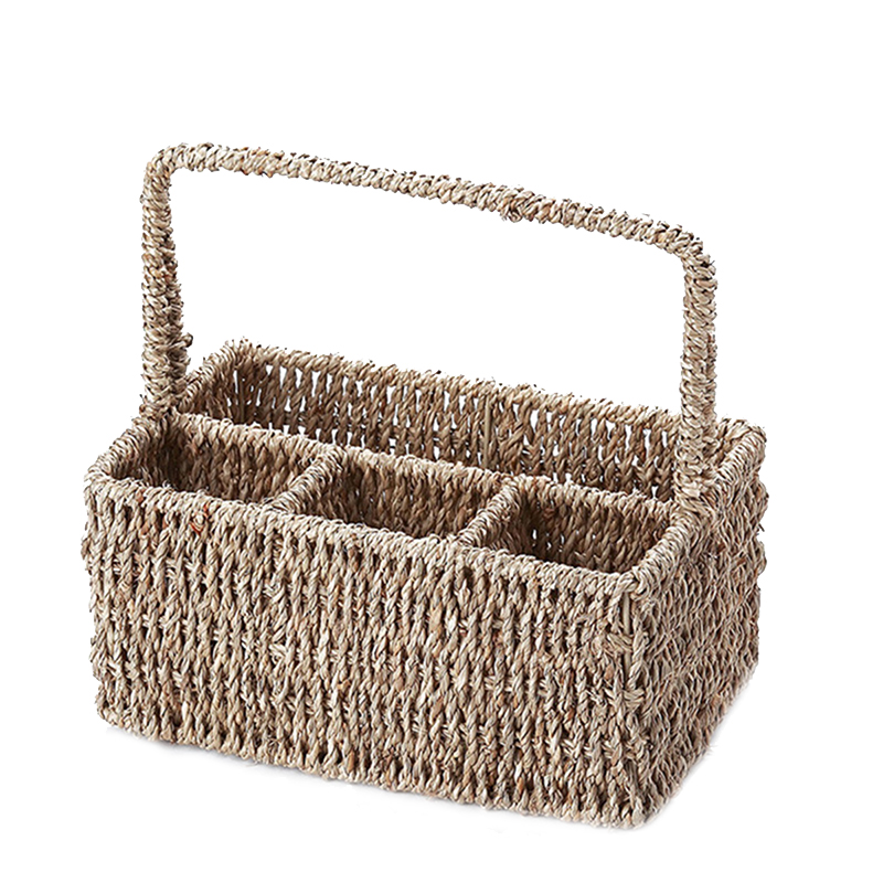 24x17x27cm 4 Compartment Straw Storage Baskets Camping