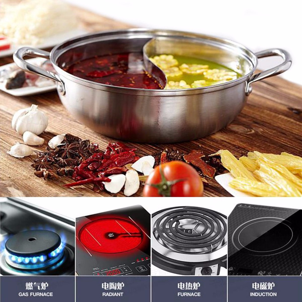 Stainless Steel Twin Dual Side Hot Pot Cookware Shabu Shabu Cooker Hotpot