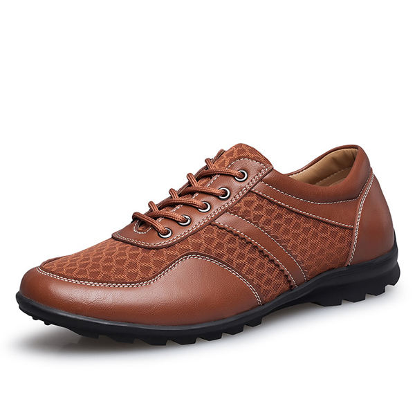 US Size 6.5-11.5 Mesh Men Casual Leather Oxfords