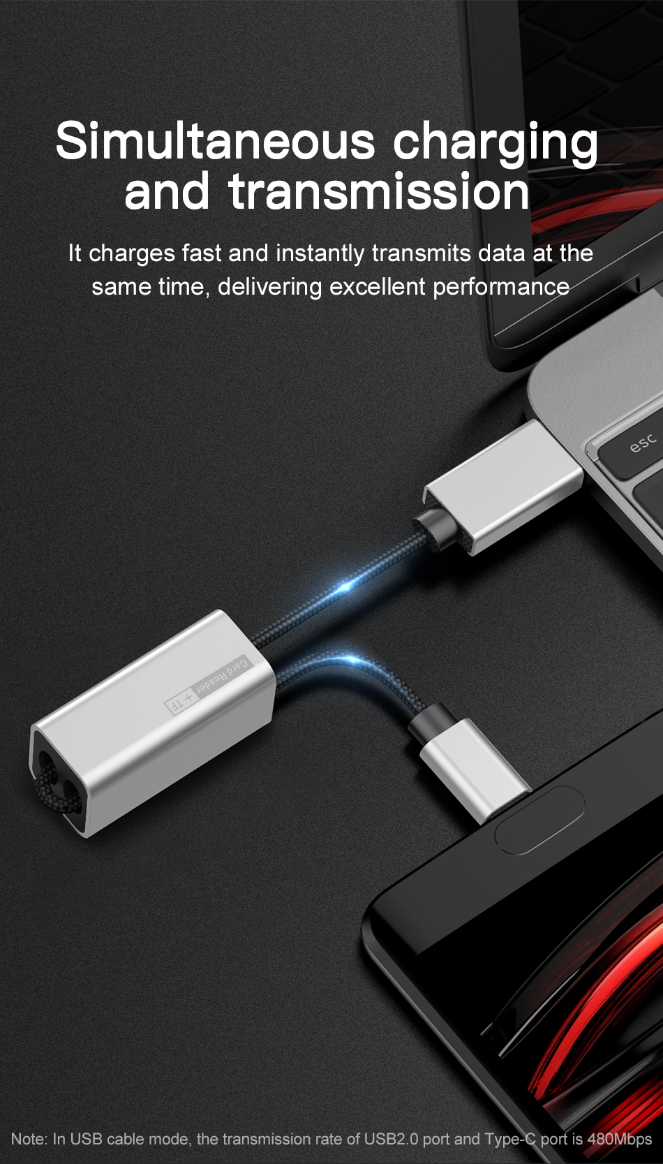Baseus 2 in 1 TF Micro SD Card Reader OTG Adapter Type C Charging Data Cable for Smart Phone Tablet