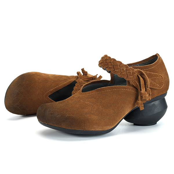 SOCOFY Vintage Suede Handmade Leather Pumps