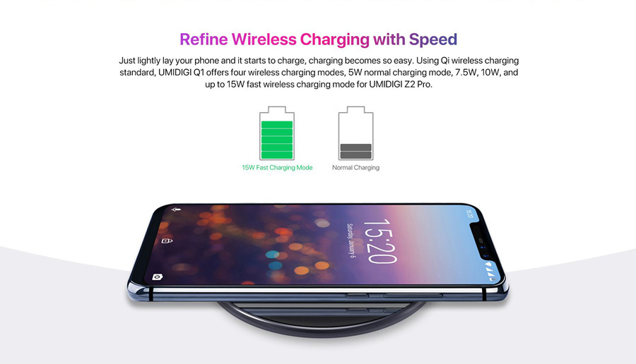 UMIDIGI Q1 15W 2.5D Charging Surface Fast Wireless Charger for iPhone 8 X for Samsung S8 S9 Note 8