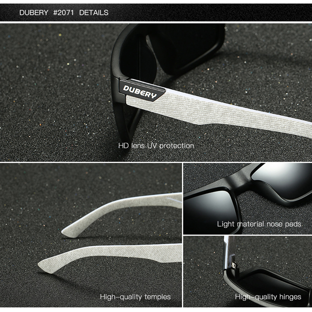 DUBERY D918 Polarized Sunglasses Square UV400 Men Women Outdoor Sports Cycling Driving Sunglasses