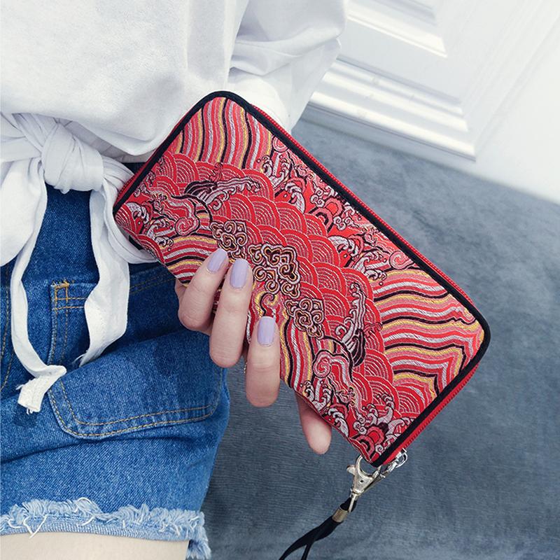 Women Silk Ethnic Embroidery Long Wallet Muti Card Slots