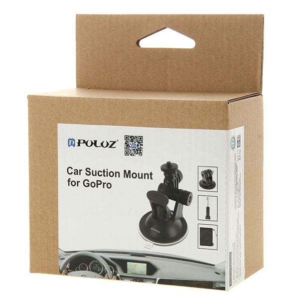 PULUZ Car Wind Shield Suction Cup Holder Screw Mount Adapter Storage Bag for Gopro SJCAM Xiaomi Yi