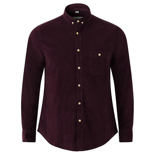 Autumn Long Sleeve Corduroy Slim Fit Button Up Casual Shirt for Men