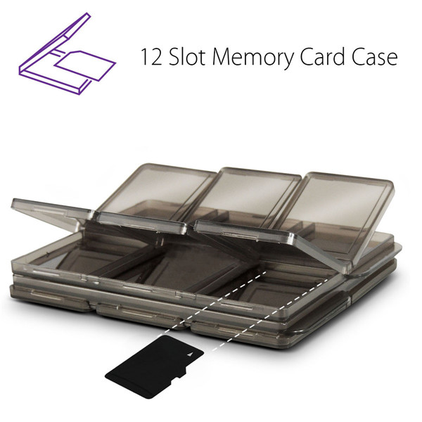 Foldable 12 Slot SIM/Micro SD/TF Memory Card Storage Case Box Holder Protector