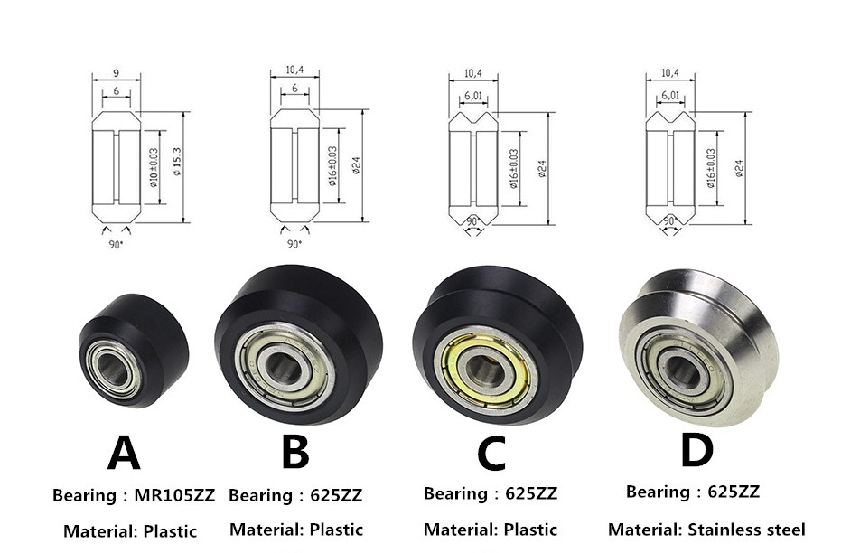 Flat / V Type Plastic/Stainless Steel Pulley Concave Idler Gear With Bearing for 3D Printer