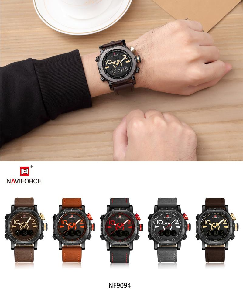 NAVIFORCE NF9094 Fashion Men Digital Watch Leather Strap Dual Display Sport Watch