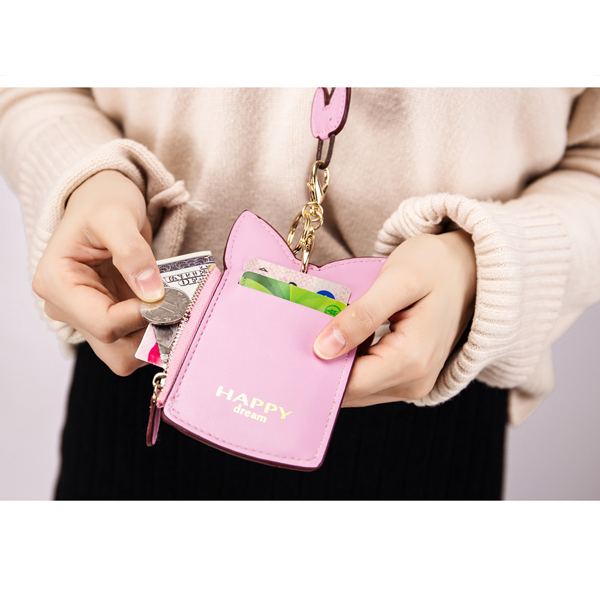 Women Cute Animal Shape Neck Wallet Lanyard Wallet