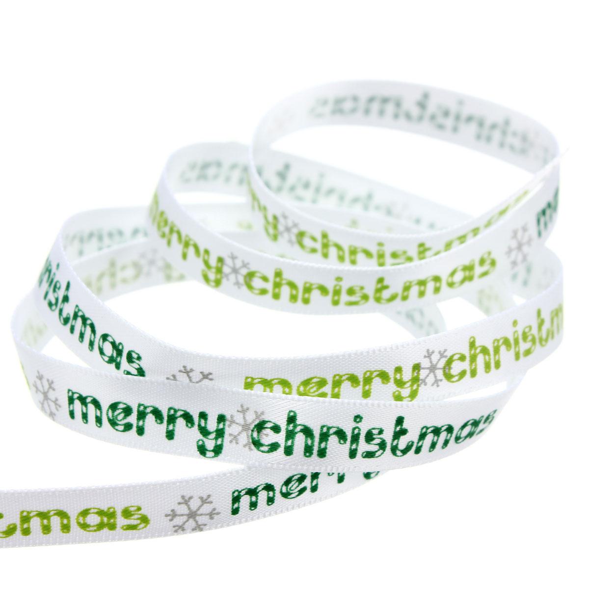 5 Yard 10mm Printed Merry Christmas Tree Grosgrain Ribbon DIY Craft