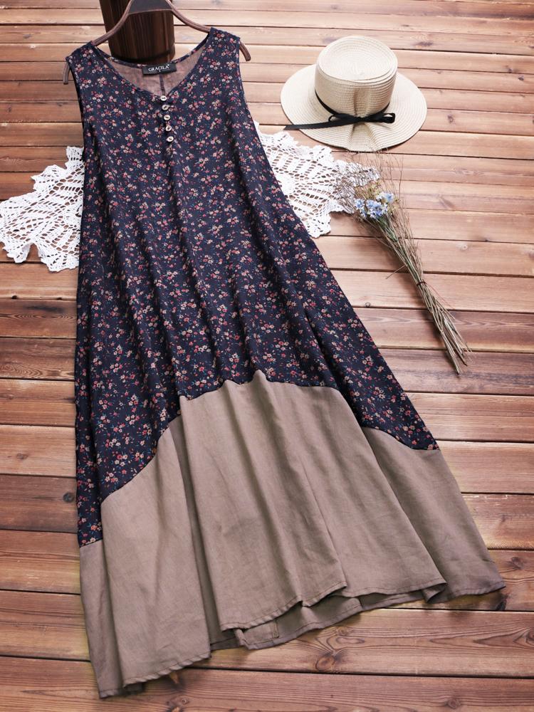 Sleeveless Buttons Patchwork Floral Print Vintage Dress