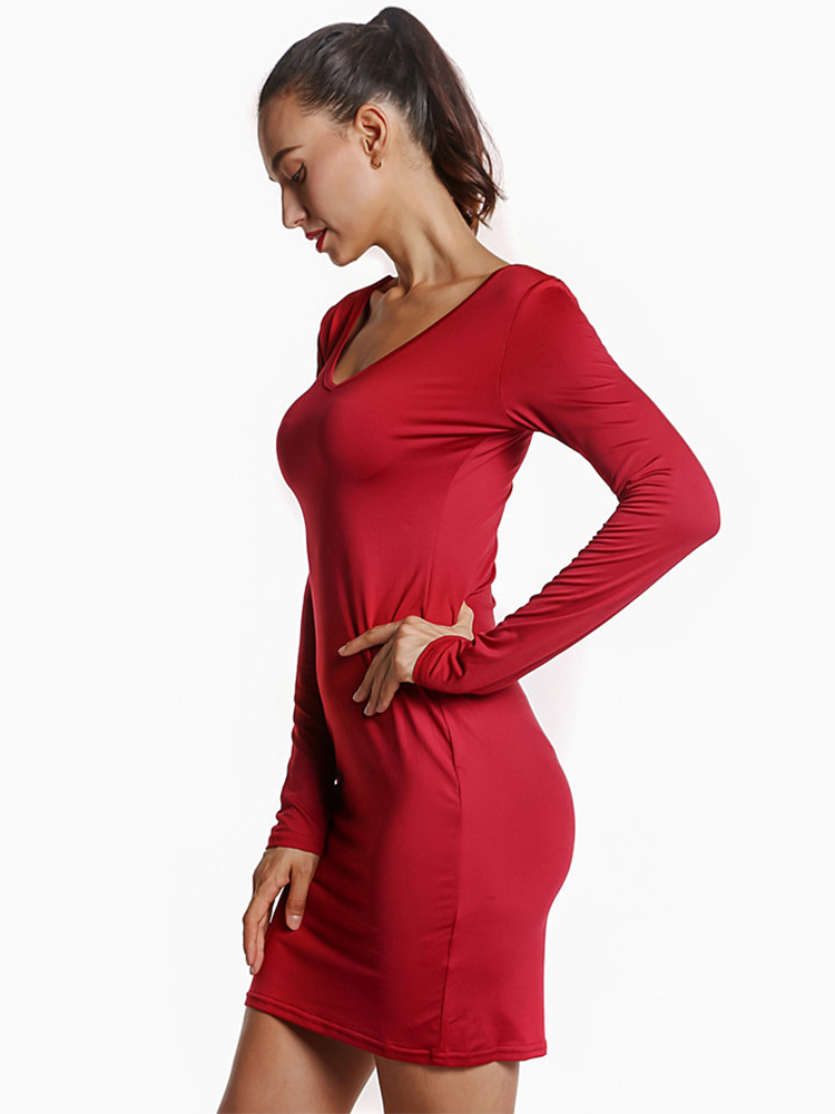 Women Sexy Low Cut Pure Color V-Neck Long Sleeve Bodycon Dress