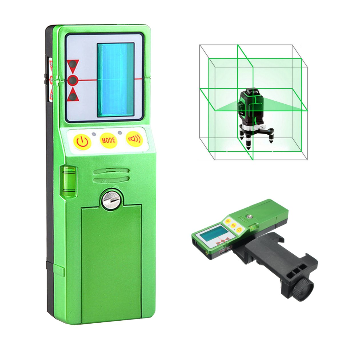 12 Line 3D Laser Level Detector Receiver Red Green Line Vertical with Clamp