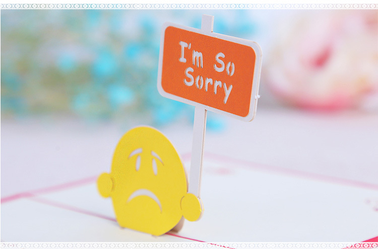 3D Pop Up I'm so sorry Greeting Apologize Card Christmas Gifts Party Greeting Card