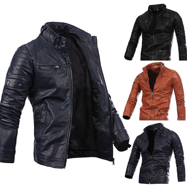Mens Fashion Black Stitching Collar Button Motorcycle PU Leather Jacket