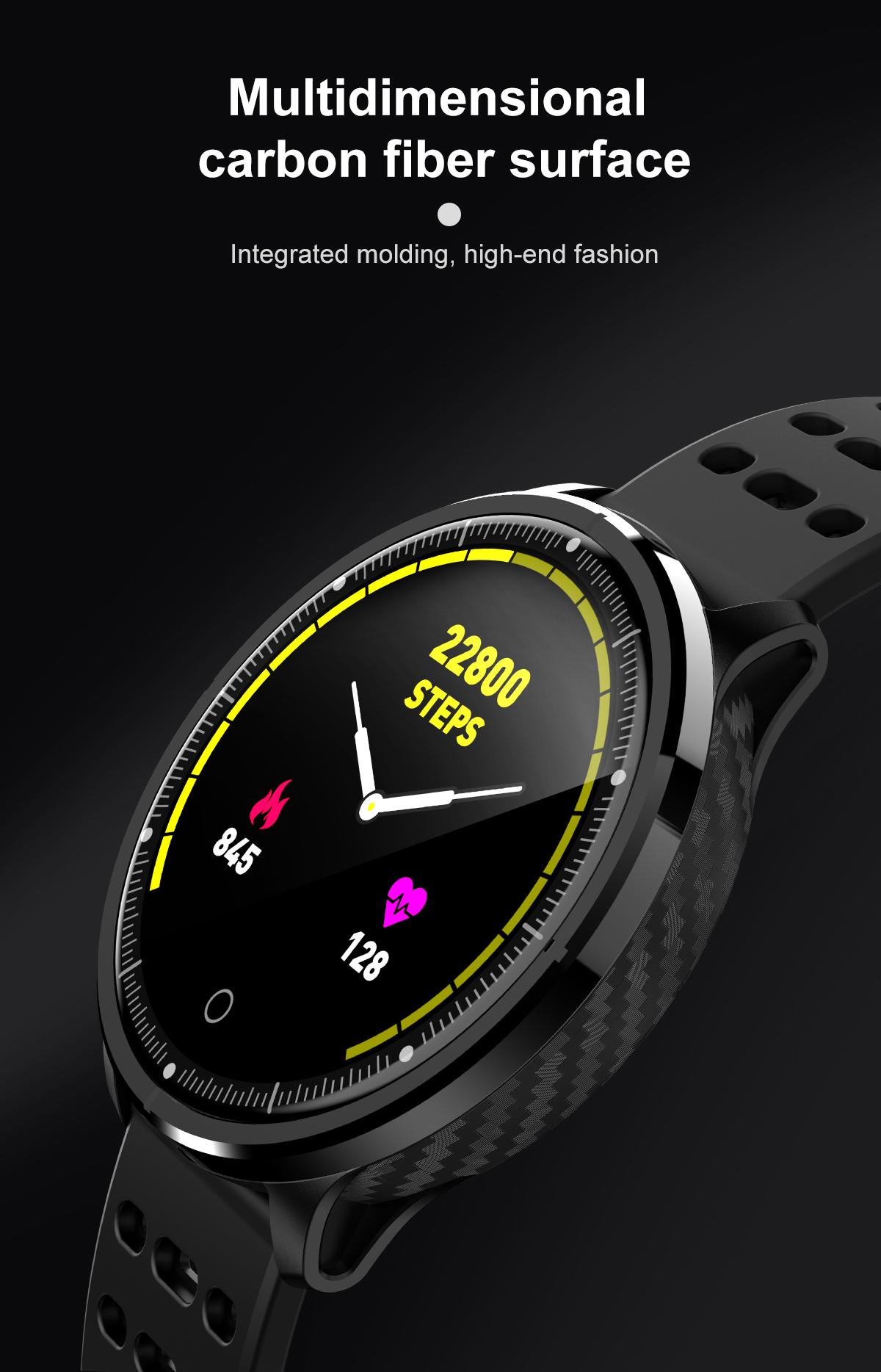 Bakeey P71 2.5D Mirror IP68 Blood Pressure Oxygen 8 Sport Modes bluetooth Music Weather Smart Watch