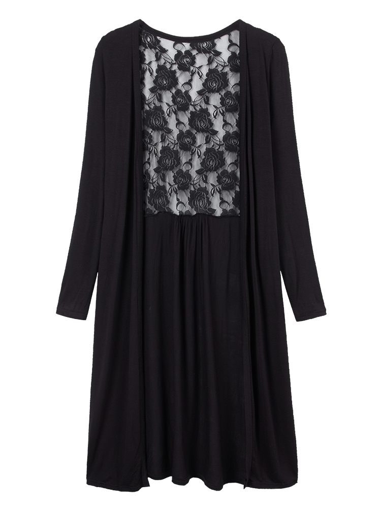 Casual Loose Lace Patchwork Pleats Long Cardigan For Women