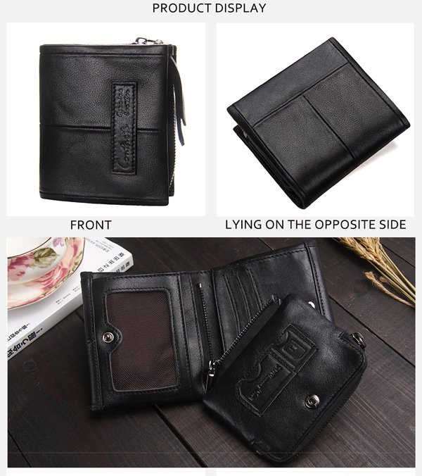 Men Genuine Leather Short Wallet Fashion Casual Zipper Wallet with Detachable Coin Bag