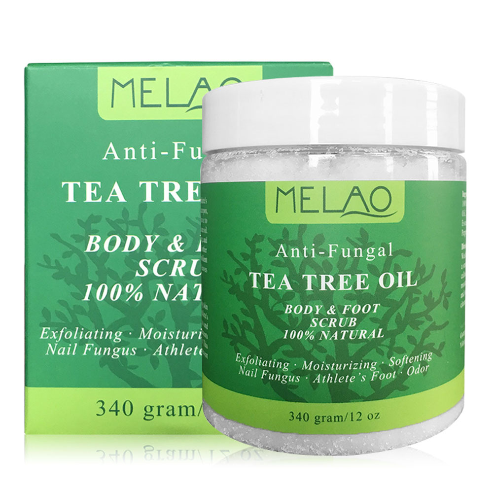 Melao Tea Tree Essential Oil Body Foot Scrub Salt Exfoliate