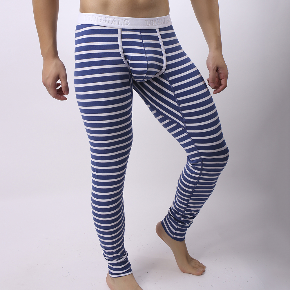 Mens Fall Winter Striped Thermal Pants Long Johns Pajamas