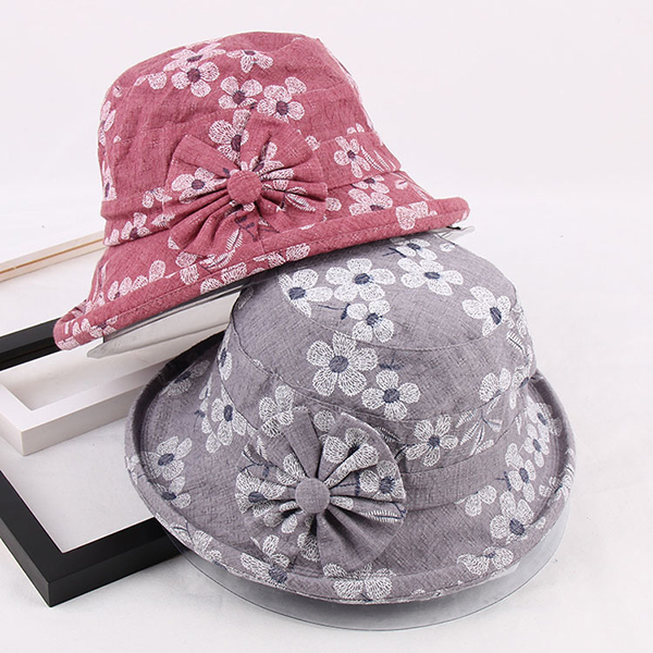 Women Flower Printing Cotton Bucket Hat Casual Outdoor Bowknot Sunshade Hats