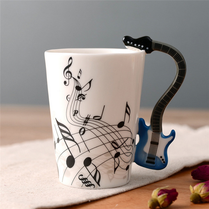 Minleaf Novelty Guitar Ceramic Cup Music Note Milk Juice Lemon Mug Coffee Tea Cup Home Office Drinkware