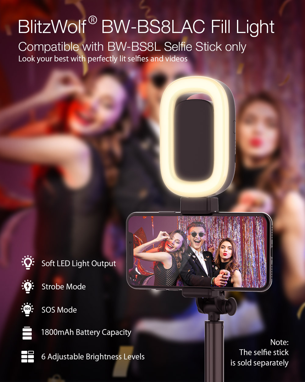 BlitzWolf® BW-BS8LAC LED Fill Light with 6 Adjustable Brightness Levels for BW-BS8L Selfie Stick