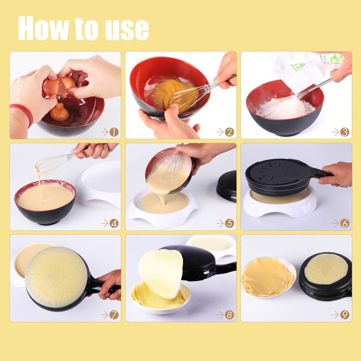 3Pcs / Set Kitchen Electric Griddle Pancake Baking Crepe Maker Pan Pizza Machine Frying Pan Kitchen Electric Appliance