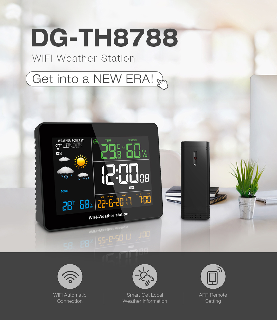 DIGOO DG-TH8788 WIFI Weather Station APP Remote Setting Automatic Connect Smart Home Multifunction Thermometer Hygrometer