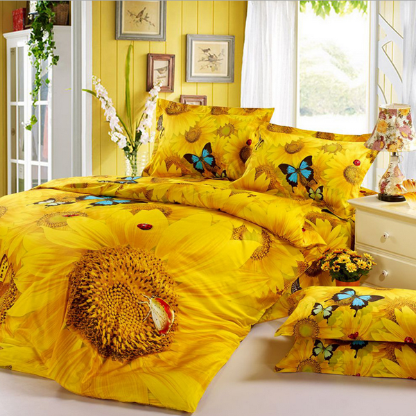 4pcs Suit 3D Golden Sunflower Butterflies Reactive Dyeing Polyester Fiber Bedding Sets Queen King Size